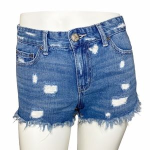 Free People High Rise Distressed Shorts- 25